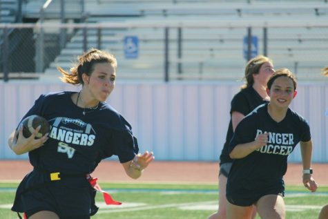 Sophomore Rachel Moore chases down  Tatum Umsheid in a practice scrimmage against the freshmen.