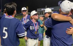 As his fellow seniors say their final on-field goodbyes, shortstop Ryan Ruff (No. 2) fights back tears. Baseball lost to Rockwall-Heath in the state semifinals on Friday, 8-4.