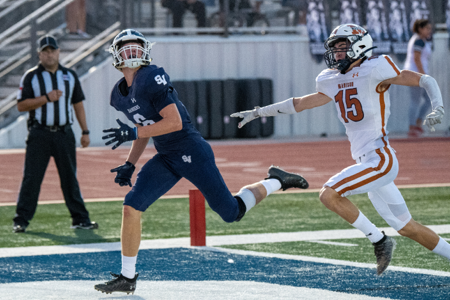 Zack McDonald tracks a deep ball from Chase Senelick on Sept. 3 against Madison. McDonald could play a key role on Friday, as the Rangers try to keep pace with El Paso Eastwoods high-octane offense.