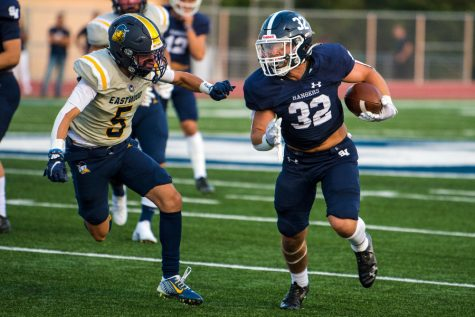 Travis McCracken fights upfield on Sept. 10 against El Paso Eastwood. McCracken, a running back, leads all Rangers with 336 yards from scrimmage.