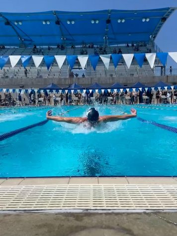 Carson Blair swims his 100 Meter Individual Medely at the UIL Pentathalon.