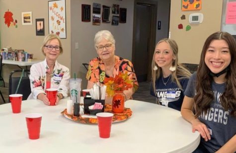 FCCLA members Ashley Villarreal and Aly Pelletier chat with seniors Joyce and Japka.