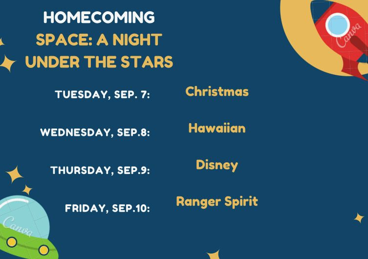 Listed above are the spirit days preceding September 11s homecoming dance.