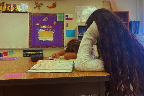 Juniors Valerie Mendez and Jordan Jones slump over their Spanish textbooks. (Photo illustration)
