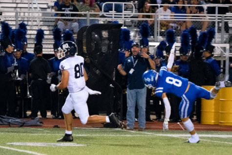 Behind the defense, Dylan Domel runs for a 57-yard gain against New Braunfels on Sept. 23. Domel caught three passes for 58 yards and two touchdowns on Friday against Clemens.